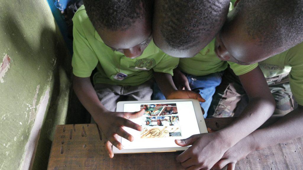 Children reading okadabooks app